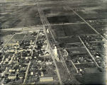 Aerial view of Fairmont Nebraska looking west down Highway 6