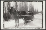 Hannah Nelson and niece Alice Nelson Dahlesten in a sleigh
